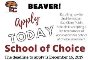 Apply for 2nd Semester School of Choice at Eau Claire Public Schools
